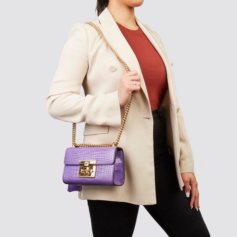 2020 Gucci Violet Cyclamen Matte Alligator Leather Small Padlock Shoulder Bag For Sale 7