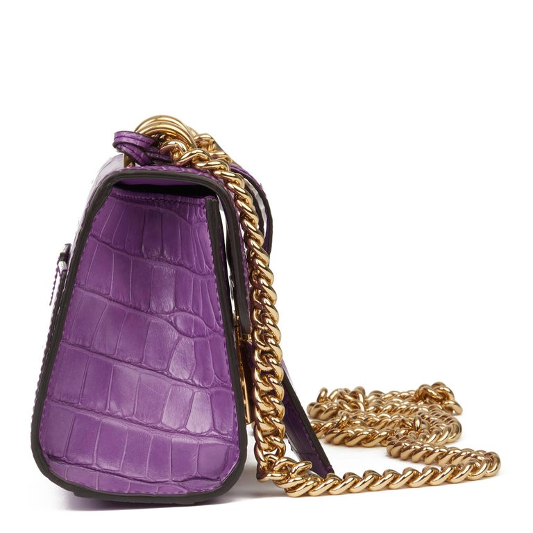 GUCCI Violet Cyclamen Matte Alligator Leather Small Padlock Shoulder Bag  Xupes Reference: HB3538 Serial Number: 409482 525040 Age (Circa): 2020 Accompanied By: Gucci Dust Bag, Box, Care Booklet, Clochette, Keys Authenticity Details: Serial Stamp