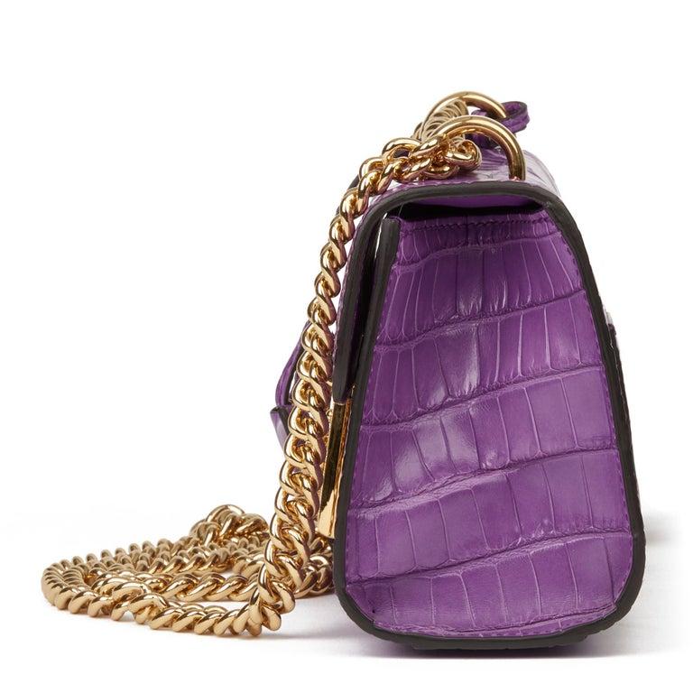 Purple 2020 Gucci Violet Cyclamen Matte Alligator Leather Small Padlock Shoulder Bag For Sale