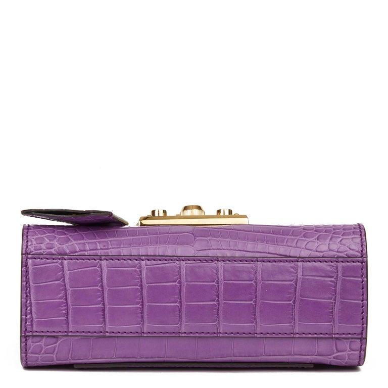 Women's 2020 Gucci Violet Cyclamen Matte Alligator Leather Small Padlock Shoulder Bag For Sale