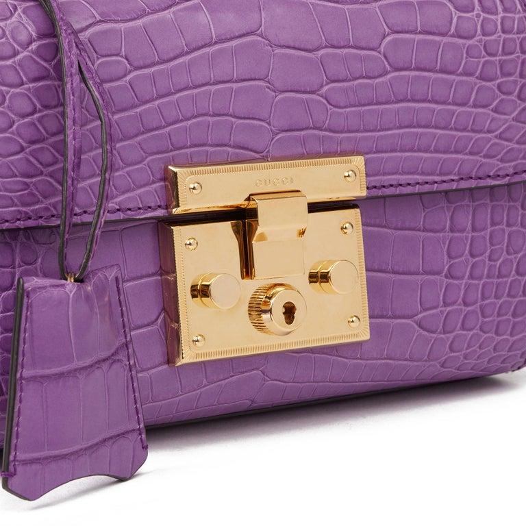 2020 Gucci Violet Cyclamen Matte Alligator Leather Small Padlock Shoulder Bag For Sale 1