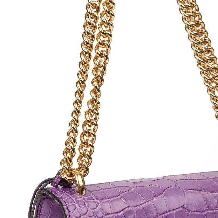 2020 Gucci Violet Cyclamen Matte Alligator Leather Small Padlock Shoulder Bag For Sale 2