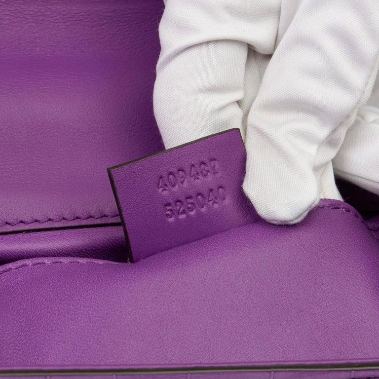 2020 Gucci Violet Cyclamen Matte Alligator Leather Small Padlock Shoulder Bag For Sale 4