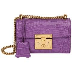 2020 Gucci Violet Cyclamen Matte Alligator Leather Small Padlock Shoulder Bag