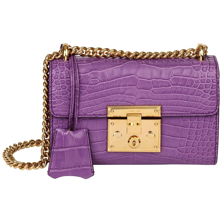 2020 Gucci Violet Cyclamen Matte Alligator Leather Small Padlock Shoulder Bag For Sale