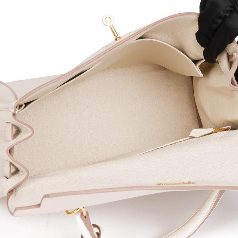 2020 Hermes  Craie Togo Leather Kelly 32cm Retourne For Sale 5