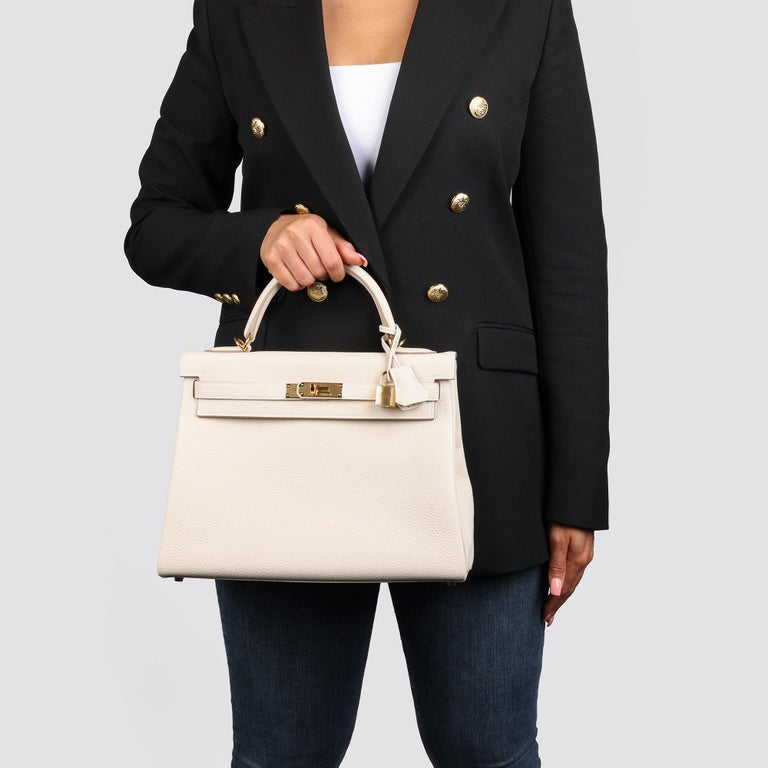 2020 Hermes  Craie Togo Leather Kelly 32cm Retourne For Sale 6