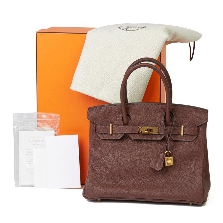 2020  Hermès Havane Clemence Leather Birkin 30cm For Sale 6