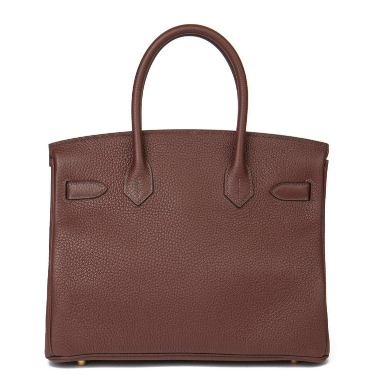Women's or Men's 2020  Hermès Havane Clemence Leather Birkin 30cm For Sale