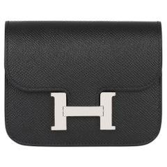 2020 Hermes Noir Epsom Leather Constance Slim Wallet