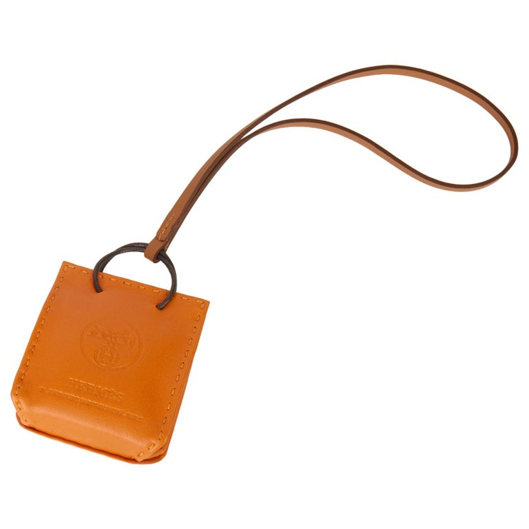 2020 Hermès Orange Lambskin Leather Shopping Bag Charm For Sale