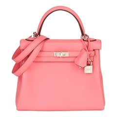 2020  Hermès Rose Ete Swift Leather Kelly 25cm