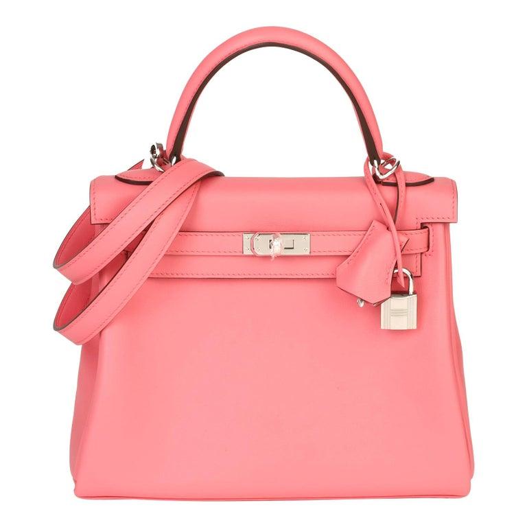 2020  Hermès Rose Ete Swift Leather Kelly 25cm  For Sale