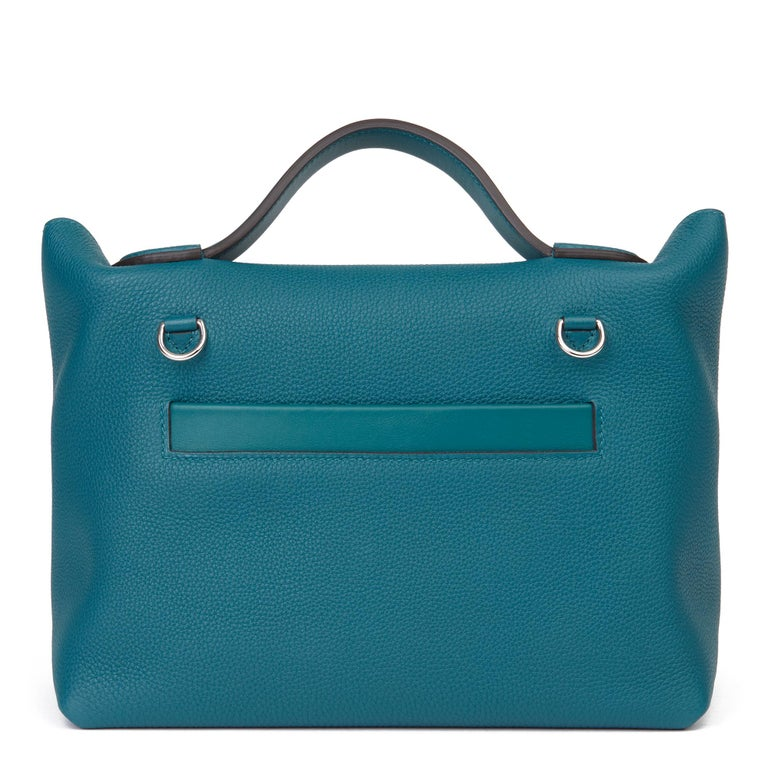 2020 Hermès Vert Bosphore Togo & Swift Leather Leather 24/24 29cm For Sale 1