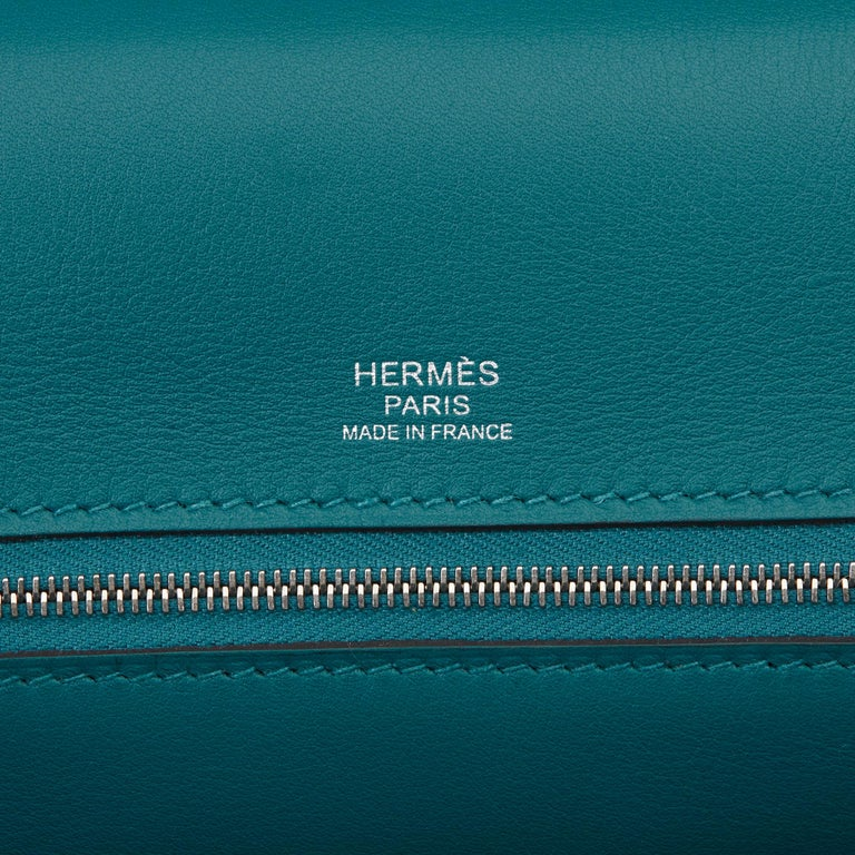 2020 Hermès Vert Bosphore Togo & Swift Leather Leather 24/24 29cm For Sale 5