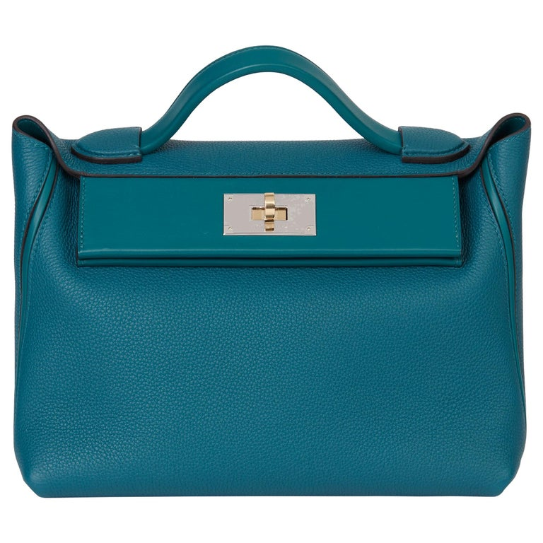2020 Hermès Vert Bosphore Togo & Swift Leather Leather 24/24 29cm For Sale
