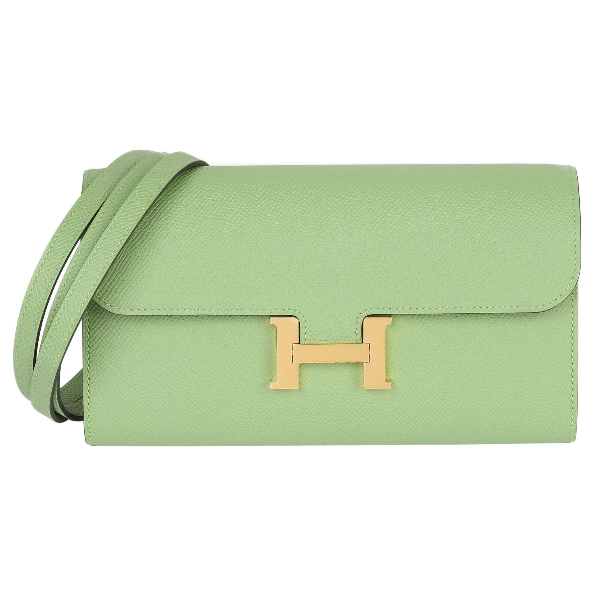 2020 Hermes Vert Criquet Epsom Leather Constance To Go Long Wallet
