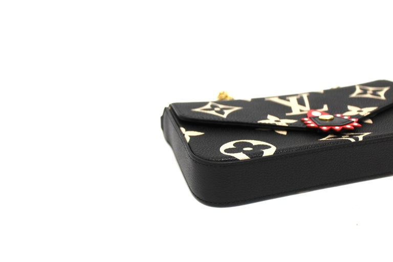 2020 Louis Vuitton Black Leather Fèlicie Pochette For Sale 1
