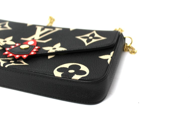 2020 Louis Vuitton Black Leather Fèlicie Pochette For Sale 2