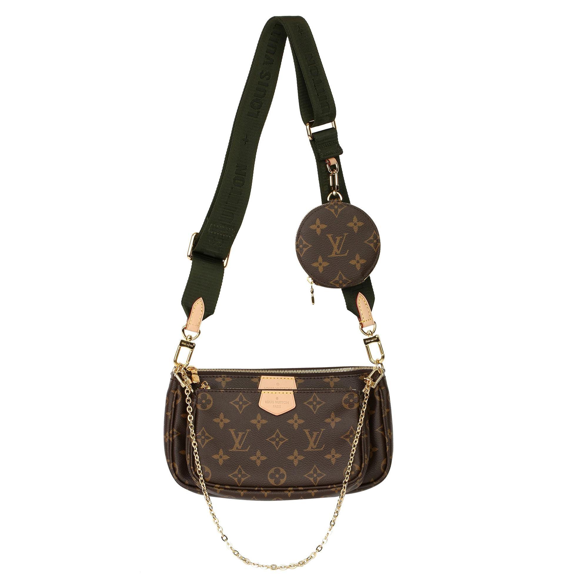 2020 Louis Vuitton Brown Canvas, Khaki Jacquard Multi Pochette Accessoires