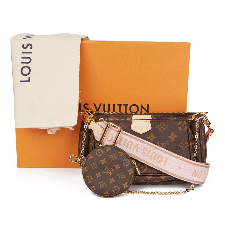 2020 Louis Vuitton Brown Canvas, Rose Chiaro Jacquard Multi Pochette Accessories For Sale 8