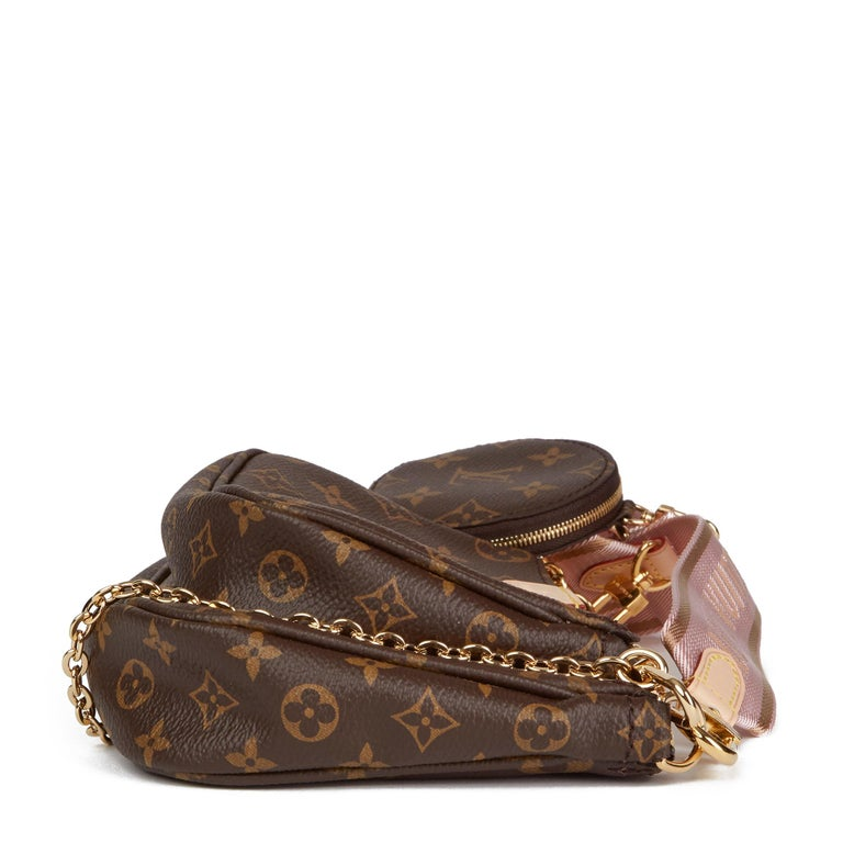2020 Louis Vuitton Brown Canvas, Rose Chiaro Jacquard Multi Pochette Accessories In New Condition For Sale In Bishop's Stortford, Hertfordshire