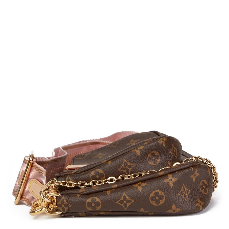 Women's 2020 Louis Vuitton Brown Canvas, Rose Chiaro Jacquard Multi Pochette Accessories For Sale