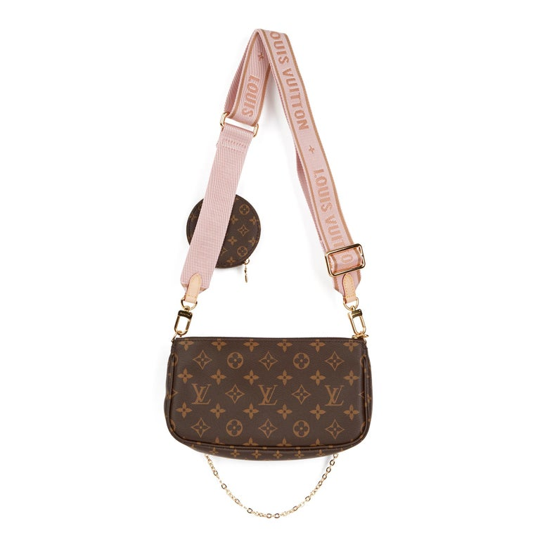 2020 Louis Vuitton Brown Canvas, Rose Chiaro Jacquard Multi Pochette Accessories For Sale 1