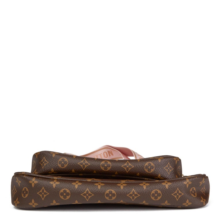 2020 Louis Vuitton Brown Canvas, Rose Chiaro Jacquard Multi Pochette Accessories For Sale 2