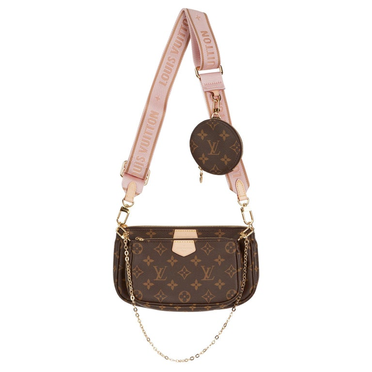 2020 Louis Vuitton Brown Canvas, Rose Chiaro Jacquard Multi Pochette Accessories For Sale