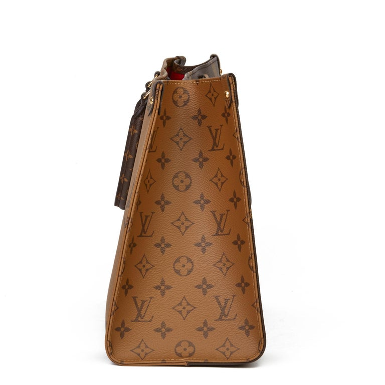 Women's 2020 Louis Vuitton Brown Monogram Coated Canvas Reverso Onthego MM For Sale