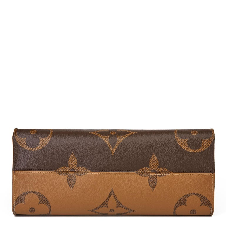 2020 Louis Vuitton Brown Monogram Coated Canvas Reverso Onthego MM For Sale 2