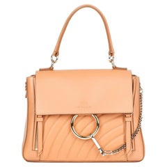 20201 Chloe Peach Quilted Calfskin Leather & Suede Small Faye Day Bag