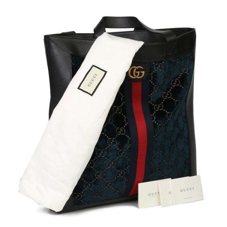2021 Gucci Dark Blue GG Velvet & Black Pigskin Orphidia Tote Bag 7