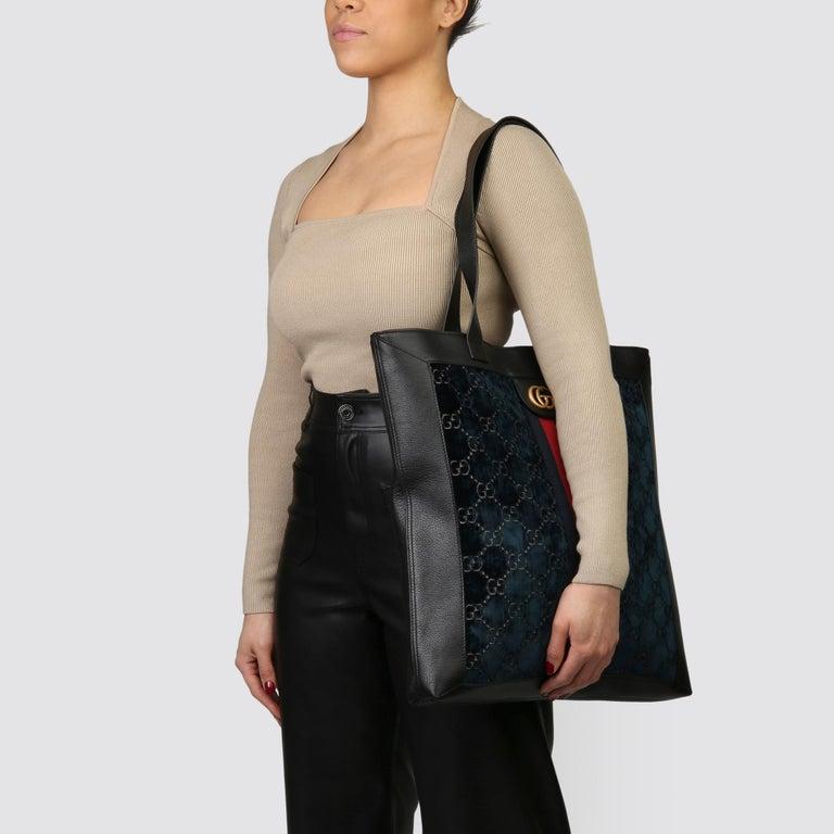 2021 Gucci Dark Blue GG Velvet & Black Pigskin Orphidia Tote Bag 8