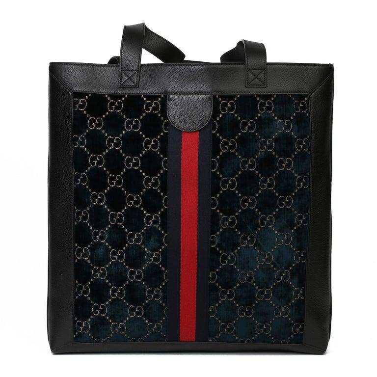 Women's or Men's 2021 Gucci Dark Blue GG Velvet & Black Pigskin Orphidia Tote Bag