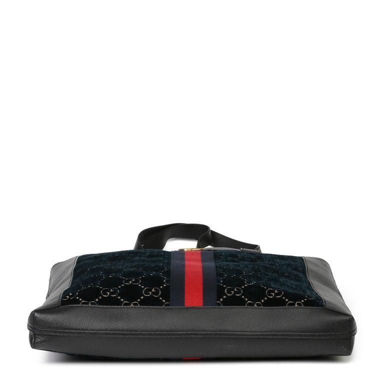 2021 Gucci Dark Blue GG Velvet & Black Pigskin Orphidia Tote Bag 1