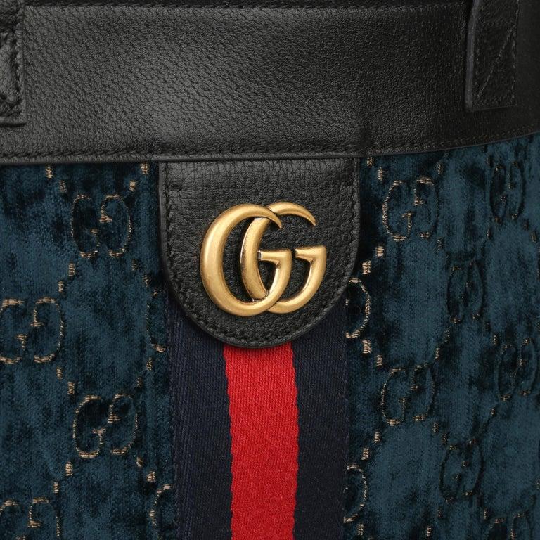 2021 Gucci Dark Blue GG Velvet & Black Pigskin Orphidia Tote Bag 2