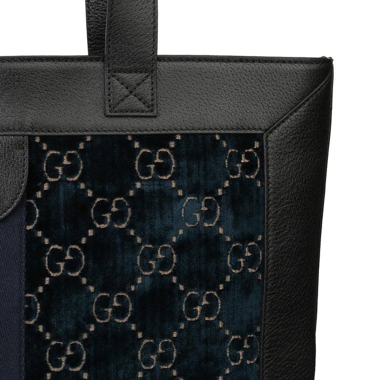 2021 Gucci Dark Blue GG Velvet & Black Pigskin Orphidia Tote Bag 3
