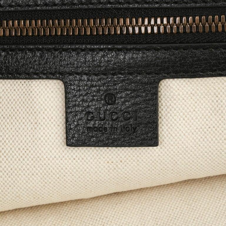 2021 Gucci Dark Blue GG Velvet & Black Pigskin Orphidia Tote Bag 4