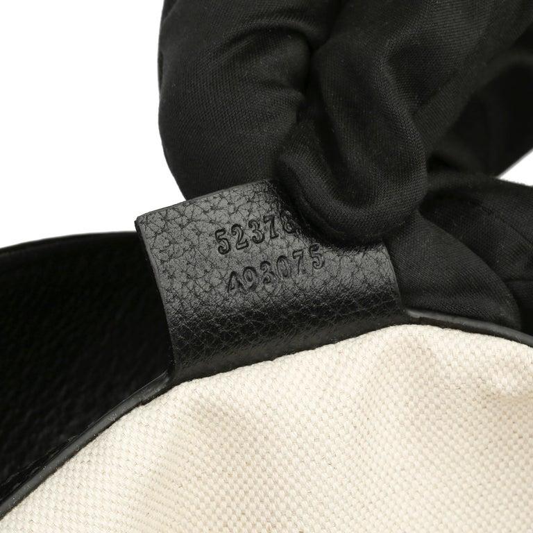 2021 Gucci Dark Blue GG Velvet & Black Pigskin Orphidia Tote Bag 5