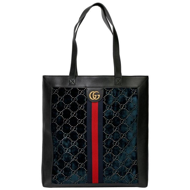 2021 Gucci Dark Blue GG Velvet & Black Pigskin Orphidia Tote Bag