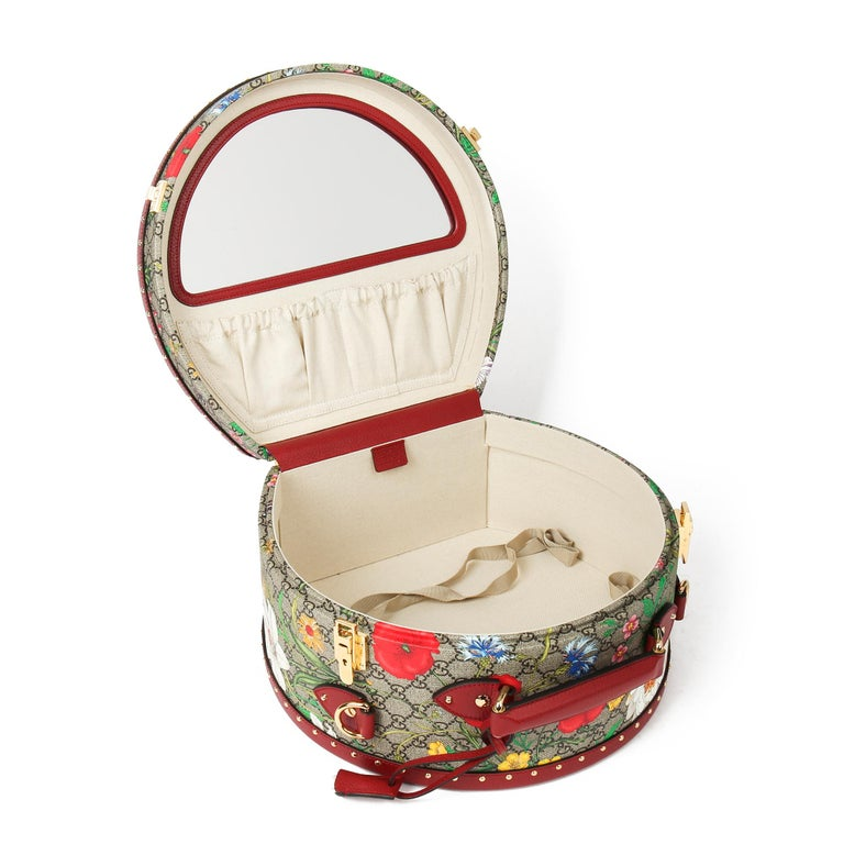 2021 Gucci GG Flora Coated Canvas & Red Pigskin Leather Hat Box  For Sale 6