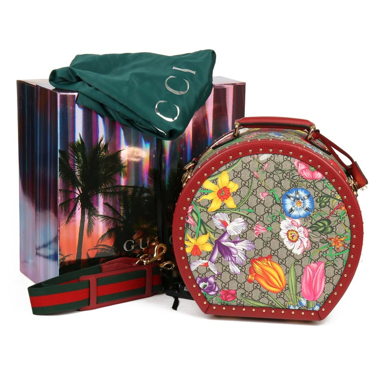 2021 Gucci GG Flora Coated Canvas & Red Pigskin Leather Hat Box  For Sale 7