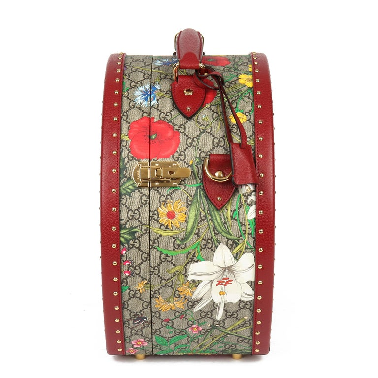 2021 Gucci GG Flora Coated Canvas & Red Pigskin Leather Hat Box  In New Condition For Sale In Bishop's Stortford, Hertfordshire