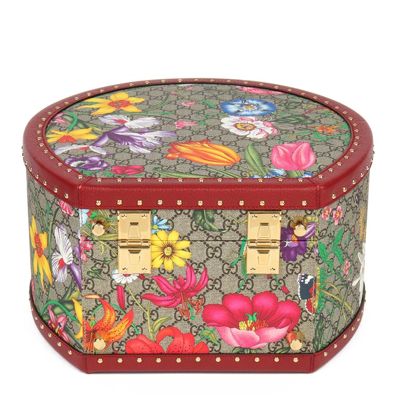 2021 Gucci GG Flora Coated Canvas & Red Pigskin Leather Hat Box  For Sale 1
