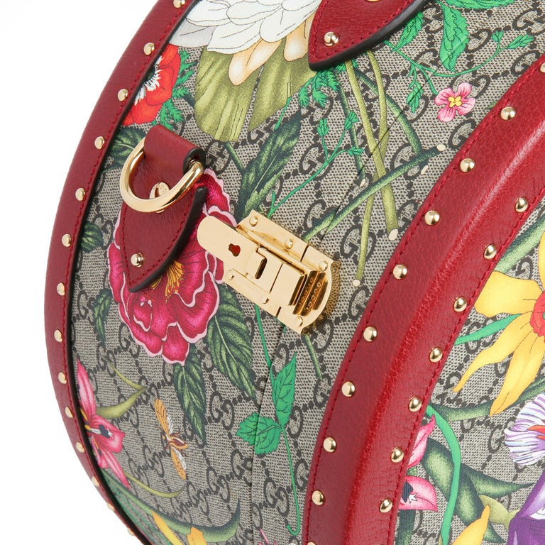 2021 Gucci GG Flora Coated Canvas & Red Pigskin Leather Hat Box  For Sale 2