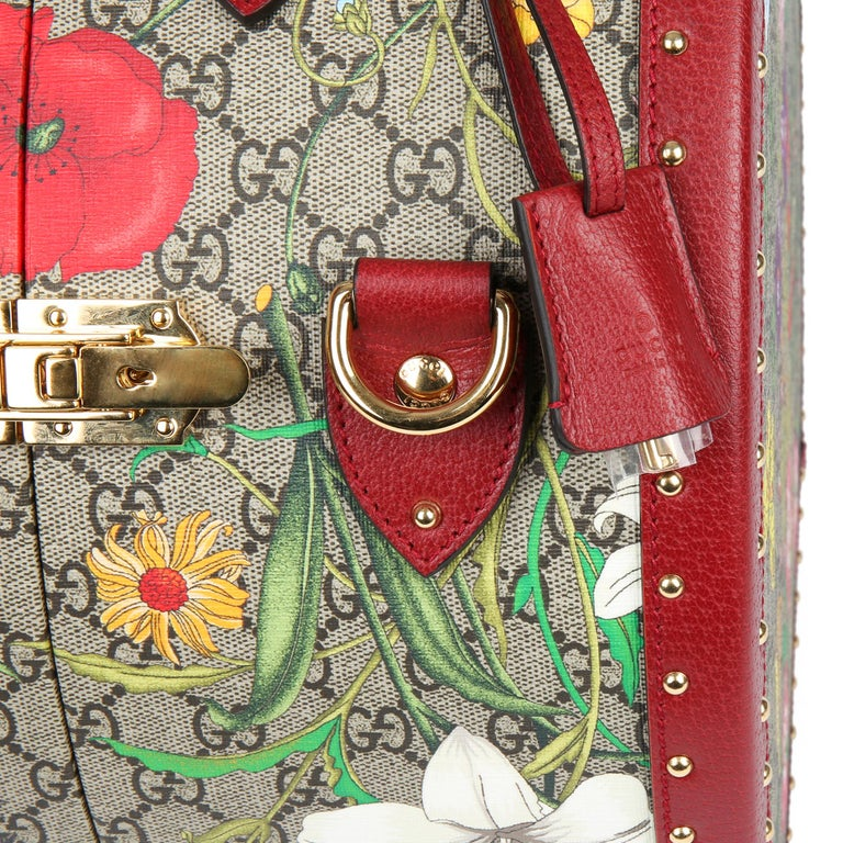 2021 Gucci GG Flora Coated Canvas & Red Pigskin Leather Hat Box  For Sale 3