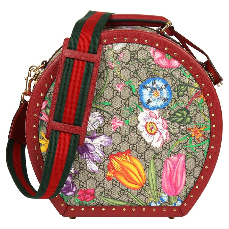 2021 Gucci GG Flora Coated Canvas & Red Pigskin Leather Hat Box  For Sale