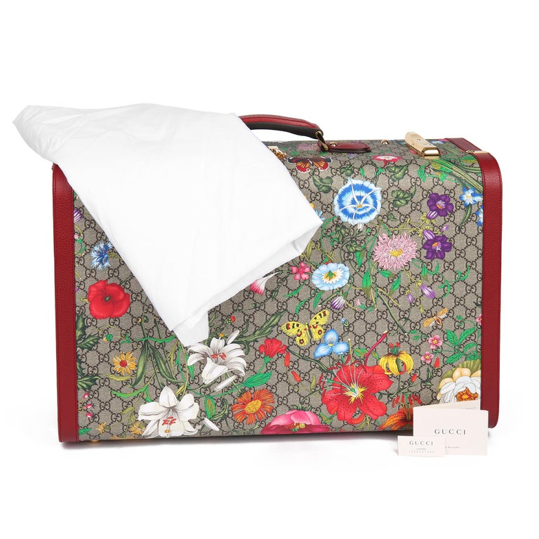 2021 Gucci GG Flora Coated Canvas & Red Pigskin Leather Large Suitcase Trunk   For Sale 8